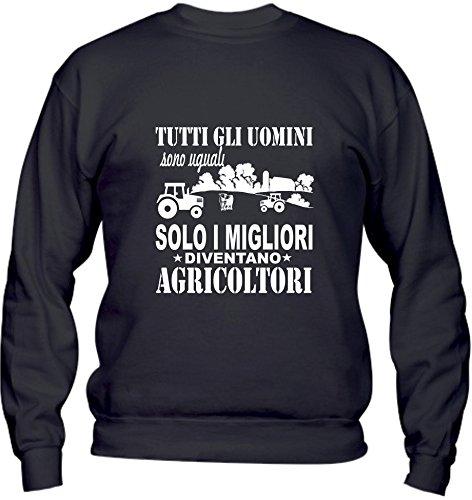 Felpa Girocollo BASIC top qualità top vestibilità - TUTTI GLI UOMINI SONO UGUALI SOLO I MIGLIORI DIVENTANO AGRICOLTORI divertenti humor MADE IN ITALY Nero