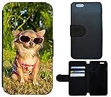 Flip Cover Schutz Hülle Handy Tasche Etui Case für (Huawei P8 Lite, 1416 Chihuahua Hund Sonnenbrille)