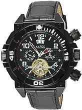 Comprar Aatos OvirLBB - Reloj de caballero automático, correa de piel color negro, caja de acero inoxidable bañado en negro