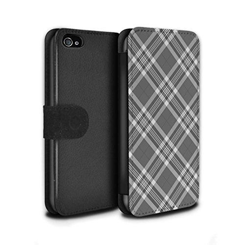Stuff4 Coque/Etui/Housse Cuir PU Case/Cover pour Apple iPhone 4/4S / Bleu Clair Design / Tartan Pique-Nique Motif Collection Gris