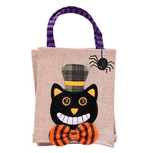 Tajie Halloween Tasche aus Canvas Kürbis Tasche für Kinder Geschenktasche Katze schwarz Hexen Dekoration, 03