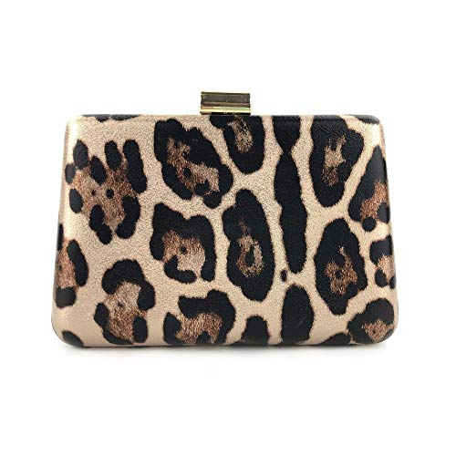 Luuruu Damen Tasche Abendtasche Party Tasche Hochzeit Handtasche Leopard Umhängetasche, Gold -