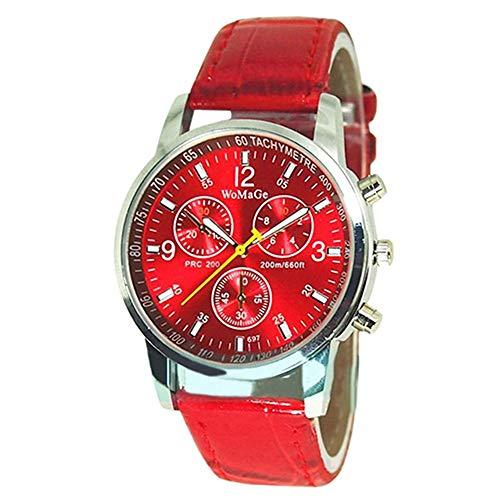 Naisider Imitación Cuero Correa de Cuarzo Hombres Reloj (función de velocímetro sólo Decorativos propósito) Rojo