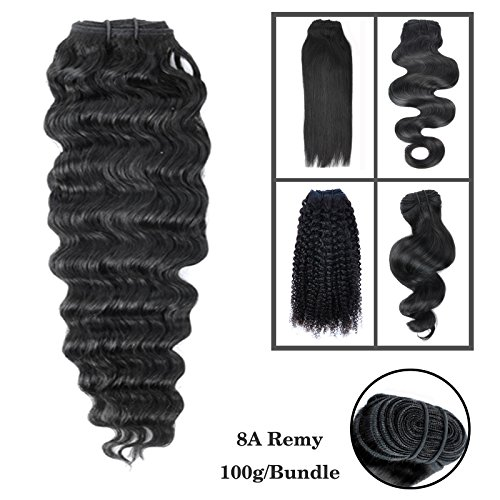 Beyond Your Thoughts 8A 100% Echthaar Tressen zum einnähen 1 Stück Haartressen human hair weft Extension Schwarz Brazilian REMY VIRGIN Haartressen Lockig Deep Weave 76cm