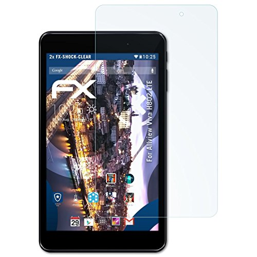 atFolix Schutzfolie kompatibel mit Allview Viva H802 LTE Panzerfolie, ultraklare & stoßdämpfende FX Folie (2X)