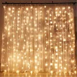 LED Lichtervorhang Lichterkette Vorhang Licht,KINGCOO 3m x 3m 304LEDs Romantisch Fenster Eiszapfen Licht Dekorative Fairy Schnur Lichter Mit 8 Modi für Innen Party Hochzeit Decoration Garden Weihnachtsbeleuchtung (Warmweiß)