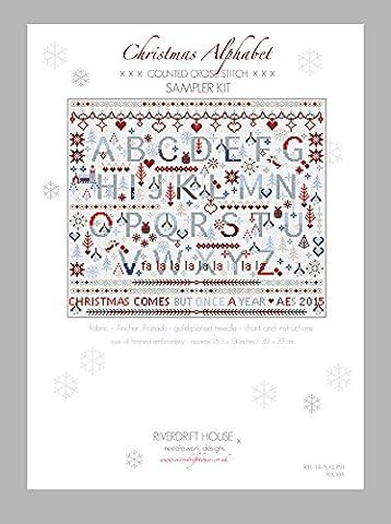 CHRISTMAS ALPHABET SAMPLER Kit de broderie au point de croix