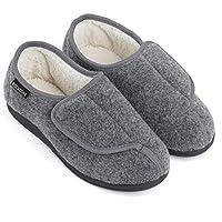 RockDove Women's Geri-Active Indoor Outdoor Adjustable Slipper, Size 6 US Women, Dark Grey
