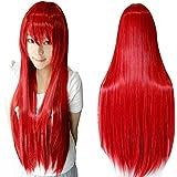 Ularma Peluca de Masquerade, 80CM larga recta pelucas llenas a prueba de calor (rojo)