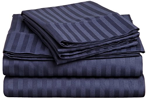 600 TC Super Soft 100% Egyptian Cotton Bedding 3 Piece Set Duvet Cover with Two Pillowcase Small Single Size Navy Blue Stripe - Blue Single Duvet