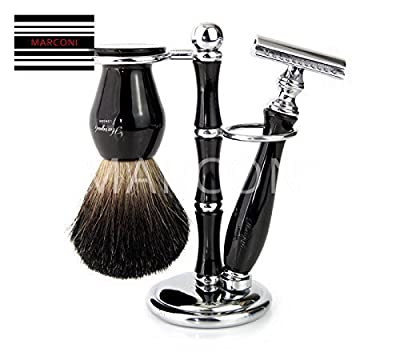 Luxury Wet Shaving Gift Set Kit - Double Edge Safety Razor, Badger Brush , Stand