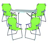 Mojawo  5tlg. Campingmöbel Set Alu Camping L70xB50xH59cm 1x Campingtisch mit Tragegriff + 4 Campingstühle Lime-grün Stoff Oxfort