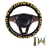 Coprivolante Auto Donna, Coprivolanti per Auto Decorativo Elastico Antisdrucciolevole Coprivolante con 1 pz Portachiavi, 1 pz Adesivo per Auto