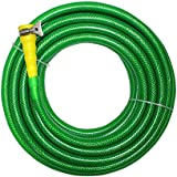 "TechnoCrafts PVC Braided Hose For Floor Care 10 Meter (33 Feet) 3/4"" (0.75 Inch Or 19mm) Bore Size - 3 Layered Hose Pipe With 1"" Tap Connector & Butterfly Clamps"