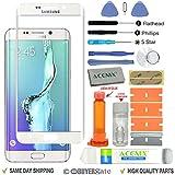 Acenix Ersatzdisplay für Samsung Galaxy S6 Edge, mit UV-Kleber und Öffnungs-Werkzeuge, Weiß