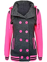 Candy Floss Fashion Candy Floss New Ladies Baseball Fluorescent Hoodie Fleece Buttoned Jacket with Detachable Hood