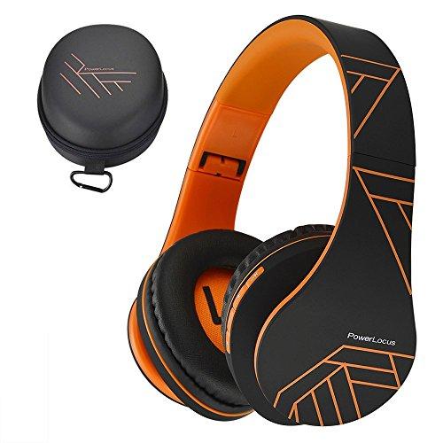 PowerLocus Bluetooth Over-Ear Kopfhörer, Kabellos Stereo Faltbare Kopfhörer Kabellose und Kabel-Kopfhörer mit Integriertem Mikrofon, Micro SD/TF, FM für Handys/iPad/Laptops & PC (Orange)