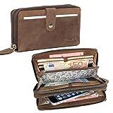 ALMADIH ® Damen Portemonnaie Giana Premium Rindsleder - 2 Metall-Reißverschlussfächer, 12 Kartenfächer, Handyfach mit Geschenkbox - Leder Langbörse Geldbörse Brieftasche braun (P26 Dunkelbraun)