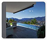 Patio Mouse Pad, Modern Summer House with Mountain Scenery And Pool Calm Tranquil, Standard Size Rectangle Non-Slip Rubber Mousepad, White Light Brown And Sky Blue