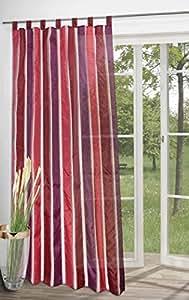 Tenda semi trasparente, tenda con righe decorative design in bordeaux rosso e viola 140 x 245 cm