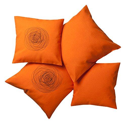 Kissenhülle Kissenbezug Dekokissenhülle mit und ohne Stickerei in zwei Größen in 3 Farben (50x50 cm, orange) -