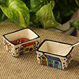 ExclusiveLane 'Two Dips Of Hut' Hand-Painted Ceramic Chutney & Pickle Bowls (Set Of 2) - Pickle Bowls Set Of 2 Ceramic Ketchup Bowl Small Dip Bowls Set Dinner Serving Chutney Bowls Kitchen Storage Tableware