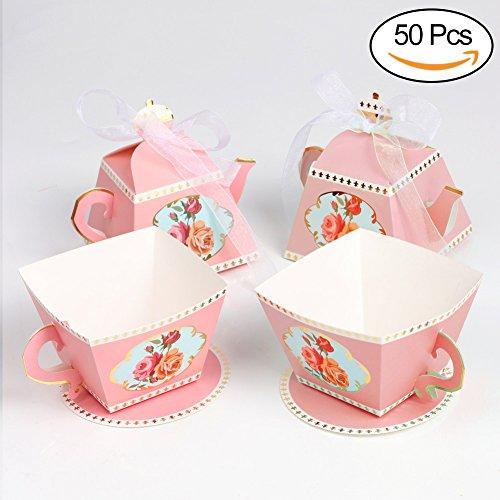 AerWo Geschenkkarton, 50Stück in Form einer Teekanne und 50Stück in Teetassenform, als Verpackung für kleine Gastgeschenke oder Süßigkeiten, Dekoration für Polterabende, Babypartys und Tee-Partys  rose (Tee Rose-muster)