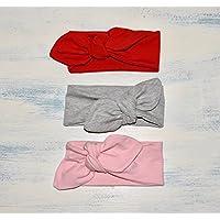 Pack de 3 Diademas de color rojo, gris y rosa en talla de recién nacido, bebé, niña y adulto, hechas a mano con tela de algodón, regalo ideal de San Valentín, perfecta para las niñas que quieren vestir como mamá.
