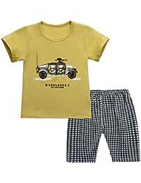 149ffc520cf6 chicnchic Baby Girls Boys Outfits car t-Shirt + Black Plaid Shorts Summer  2pcs Set