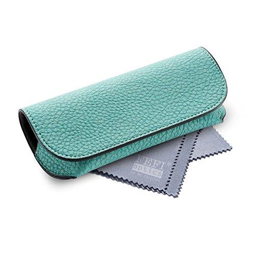 lenetui in schönen Pastellfarben - Leder-Look - mit Magnetverschluss - inkl. hochwertigem Brillenputztuch/Mikrofasertuch (Mint) ()