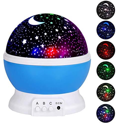 Baby Kind Nachtlicht Sternhimmel Projektor LED Nachtlichter Lampe 360 Grad Rotierenden Mond Sterne Projektor mit USB Kabel in Blau Lila Rosa