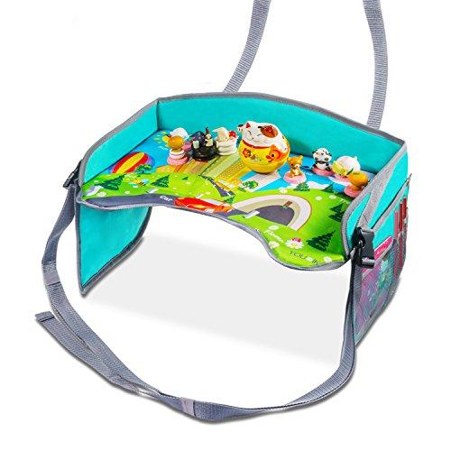 Bandeja de viaje para niños – Uiter bandeja para niños pequeños con bolsillos de malla, lados reforzados y cinturones ajustables para asientos de carros. Hace el dibujar, comer y las actividades mucho más fáciles.