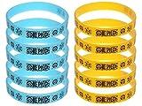 CoolChange One Piece 10x Silikon Armband in Blau & Gelb