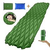 WINGLESCOUT Camping Isomatte mit Kopfkissen 190 * 59cm Kleines Packmaß Aufblasbare Luftmatratze Camping Sleeping Pad für Camping Outdoor Wandern Strand