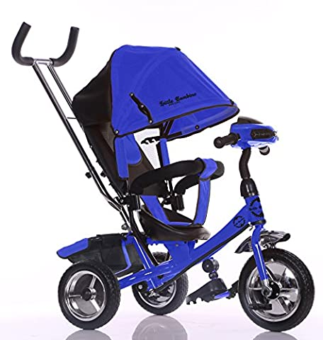 Little Bambino Kids Trike Push Handle Stroller Convertable 4-in-1 Canopy Tricycle Pram with Metal Frame Indicators LED Lights | For Child Age 1 - 6 Years | Available in Red / Blue / Orange / Pink