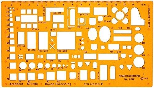 1:100 Architekt Schablone Zeichenschablone Möblierung - Innenarchitektur Technisches Zeichnen