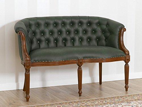 Simone guarracino divano isabelle stile vittoriano 2 posti noce ecopelle verde vintage