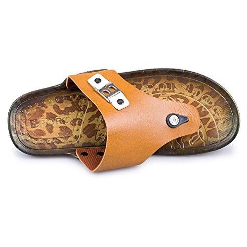 SHANGXIAN Pantoufles Classic mode Casual tongs pour hommes en cuir véritable pour l'été yellow orange