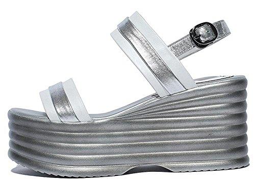 PBXP Open-Toe Frauen Sommer Sandalen Pumpe Monk-Straps Plattform Fersen Einfache Sandalen Weiß Schwarz Europa Größe 34-39 White