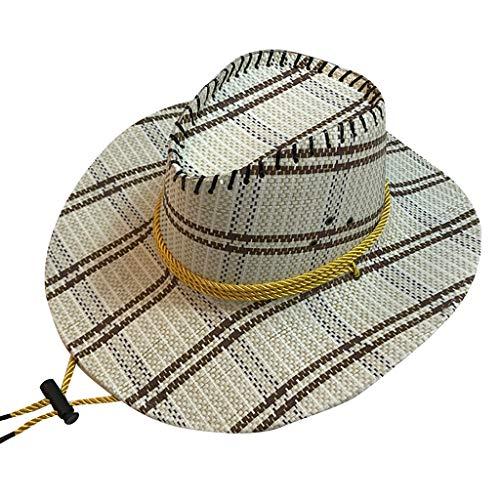CANDLLY Hut Damen, Kopfbedeckung Zubehör Kopfschmuck Mode Mode Unisex Western Cowboy Hut für Gentleman Sombrero Breiter Krempe(D,One size