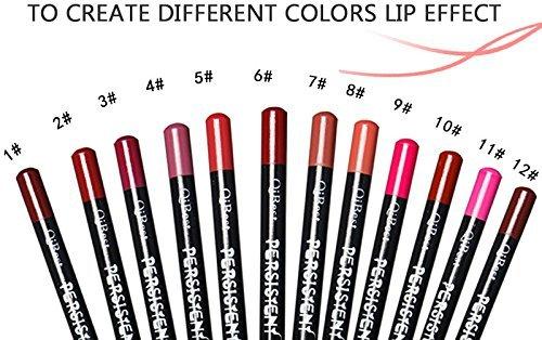 12pcs/Set Waterproof Long Lasting Matte Lipliner pencil Lip Pen set