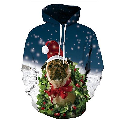 Leapparel Unisex 3D Weihnachtshund Grafik Druck Kapuzenpullover Hässliches Sankt Weihnachten Kapuzenpulli Kostüm für Frauen und Damen