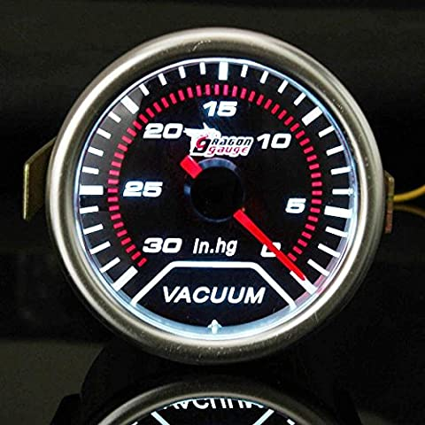 2 pollici 52MM LED rosso auto universale Vacuometro Car 30-0 IN.HG Meter