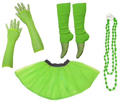 Neon Set (Ladies Neon UV Tutu Set Skirt Gloves Leg Warmers Beads 80s Costume Size 34-50 (EUR 34-42(UK 6-14), Neongrün))