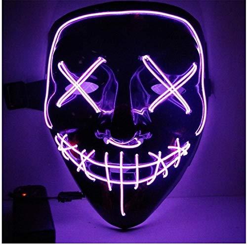 YAX Mascara Para máscara Halloween LED se iluminan