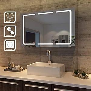 SONNI LED Spiegelschrank 3 türig 1050 x 650 x 130 mm Badezimmerspiegel wandschrank Badschrank mit Beleuchtung mit Steckdose