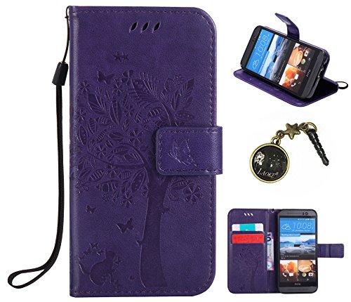Preisvergleich Produktbild PU für HTC One (M9) Hülle, Klappetui Flip Cover Echt Leder Tasche für HTC One (M9) Flip Cover Handyhülle Bookstyle mit Magnet Kartenfächer Standfunktion + Staubstecker (5TT)