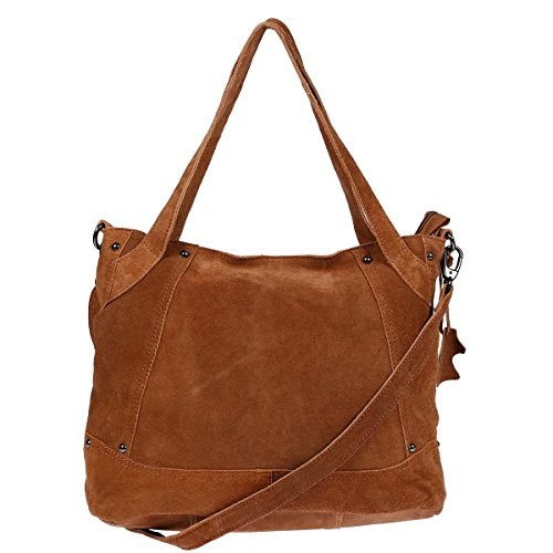 XL-Christian-Wippermann-Leder-Damentasche-Shopper-Bag-Schultertasche-plus-zustzlichem-Trageriemen-Cognac