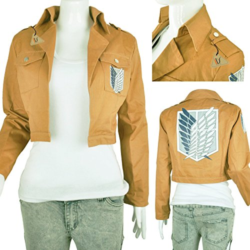 IDS Home Khaki Anime Attack on Titan Jacke Mantel Cosplay Kostüme Kleidung, Khaki, Small