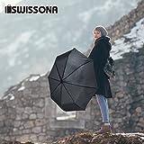 SWISSONA Premium Regenschirm, leicht, winddicht, rostfrei in schwarz | 2 Jahre Zufriedenheitsgarantie | Taschenschirm, Reise-Regenschirm, Outdoor-Regenschirm - 6